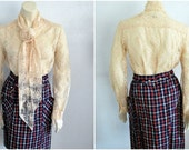 Vintage Cream Lace Blouse with Neck Tie (Reserved for KA)
