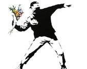 Flower Thrower - Banksy U.K. Street Graffiti Artist T-shirt