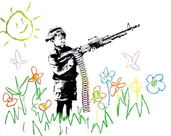 Crayon Shooter Machine Gun Child - Banksy U.K. Street Graffiti Artist T-shirt
