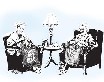 Back in the Day Wild Grannies - Banksy U.K. Street Graffiti Artist T-shirt