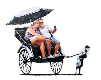 Rickshaw - Tourists - Banksy U.K. Street Graffiti Artist T-shirt