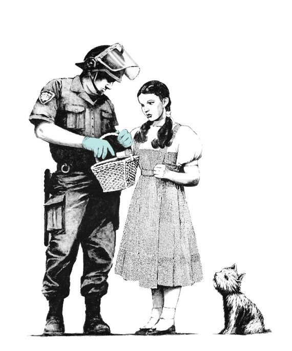 Dorothy and Toto Searched by Cop Riot Police - Banksy U.K. Street Graffiti Artist T-shirt