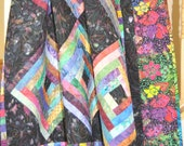 """SALE, 25% off, coupon code """"sellingallquilts"""" Quilt Bold and Batik handmade  63 X 63"""