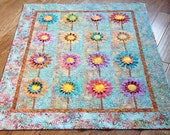 "SALE, 25% off, coupon code ""sellingallquilts"" Quilt Wall Art Daisies Do Tell  (turquoise)  44 X 54"