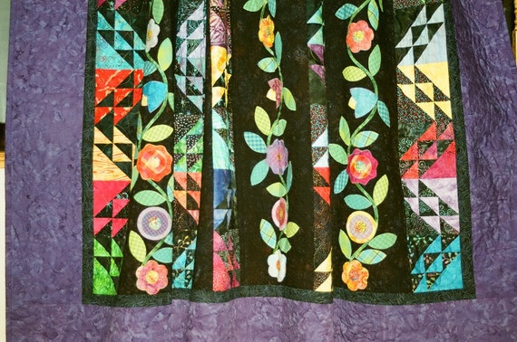 "SALE, 25% off, coupon code ""sellingallquilts, Midnight Garden Quilt"