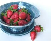 Blue berry bowl / colander with flower impressions