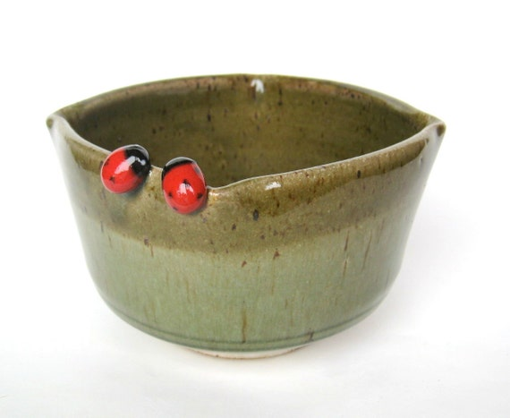 Bowl in speckled green and oatmeal with two ladybugs