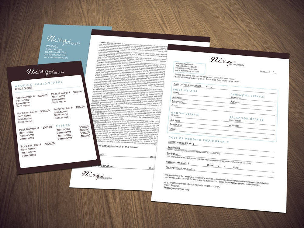 photography wedding contract form and price guide instant