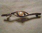 Vintage Brooch Sterling Silver Marcasite and Pearl  Germany