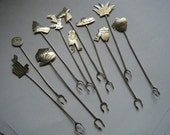 Vintage Cocktail Picks Sterling Silver Mexico Themed Set of 11....SALE