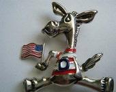 Vintage Brooch/Pendant Donkey Democrat BEST American Flag