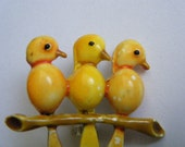 Vintage Brooch Yellow Birds