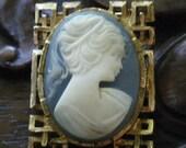 Vintage Wedgewood Blue Cameo Brooch...SALE