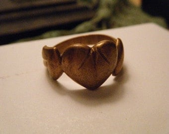 Brass Humble Heart Ring Size 11