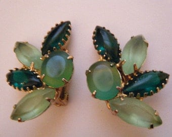 Lush Shades of Green Earrings Clip