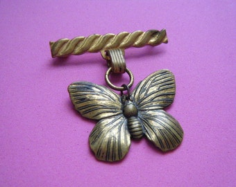 Butterfly Brooch Bar Pin Dangle