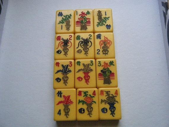 Vintage BAKELITE Mahjong Tiles Set of 12