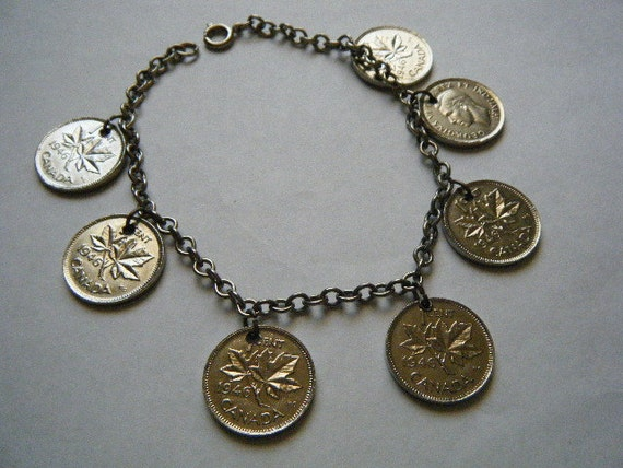 Charm Bracelet Canadian Coins Silver
