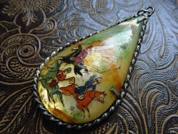 Vintage Pendant Persian/Iranian Polo Players Mother of Pearl Hand Painted Double Sided