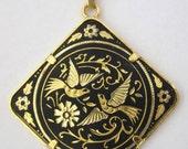 Vintage Damascene Bird Pendant Necklace