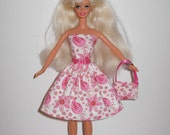 Pretty  floral dress and bag for barbie doll