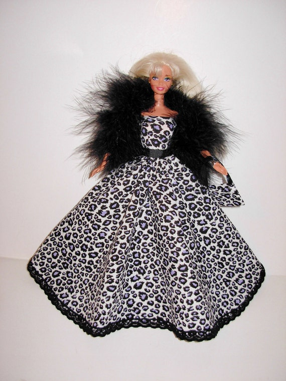 Beautiful handmade gown with boa and bag 4 barbie doll