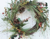 FREE SHIPPING-Holiday Wreath-Christmas Pine and Pine Cone Wreath with Berries