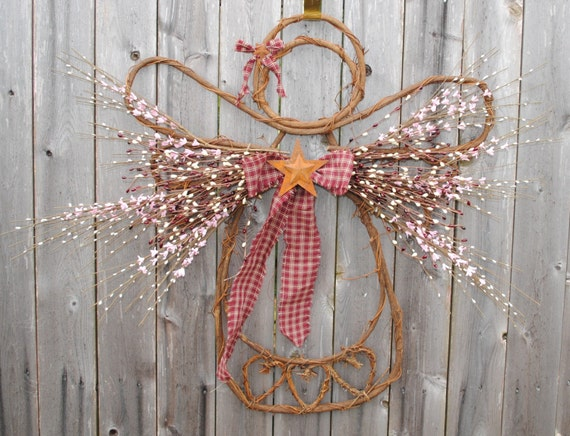 Grapevine angel wreath for Vine craft ideas