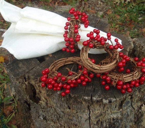 Reserved For Dbrummer Holiday Decor Napkin Rings Berry Napkin