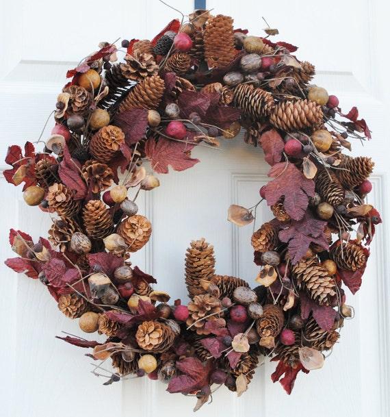 FREE SHIPPING-Holiday Decor-Christmas Wreath, Pine Cone Wreath, Christmas Decor