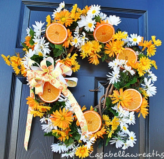 Wreath for Door-Summer Orange and Flowers Wreath