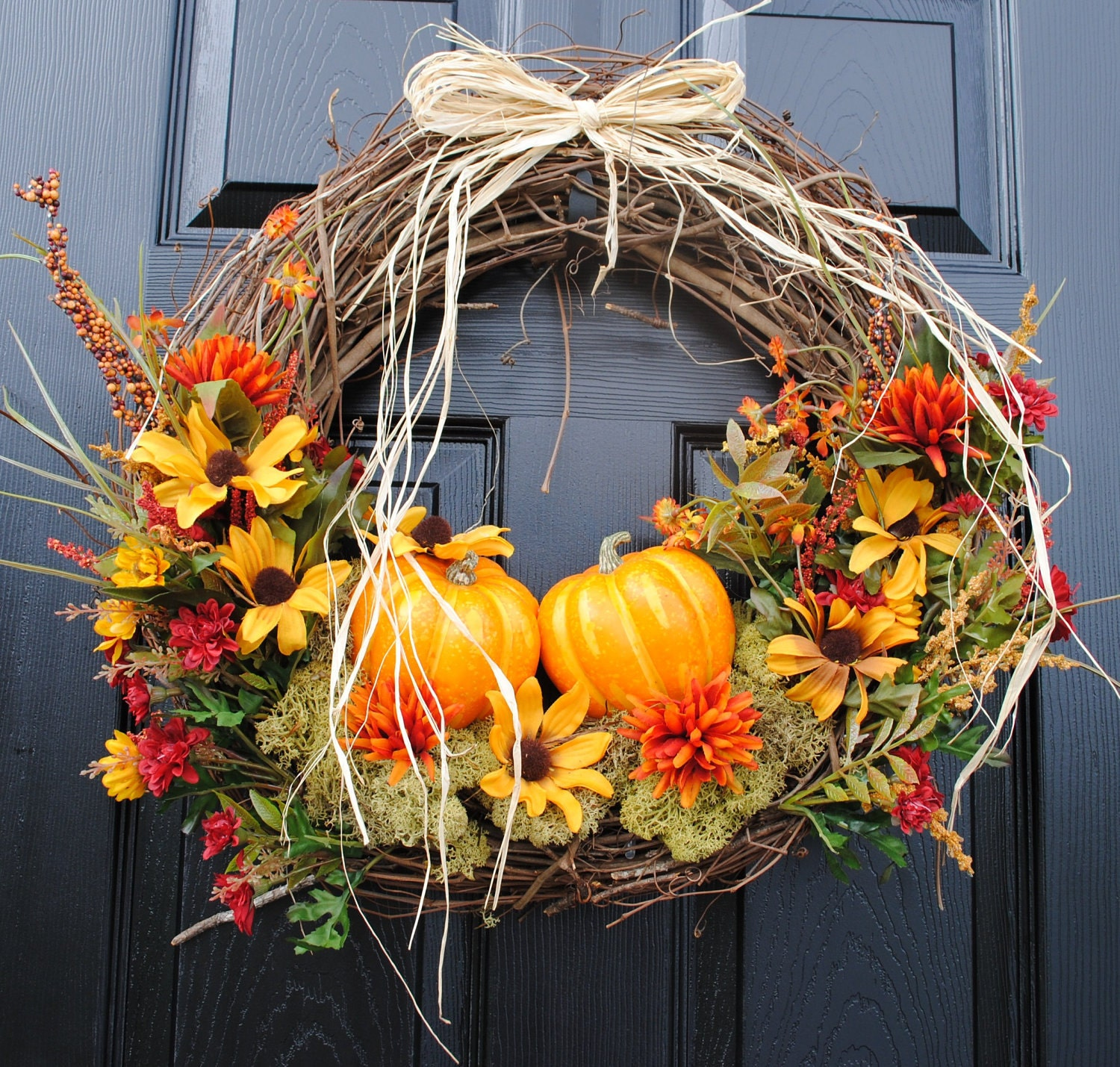 Fall Front Door: Fall Wreath For Front Door-Pumpkin Patch