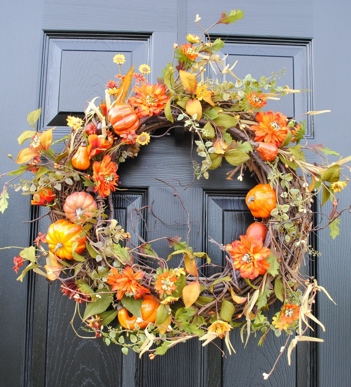 Sale Autumn Wreath Fall Decor Pumpkins And Gourds