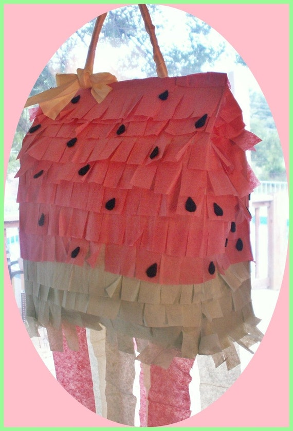 watermelon paper bag pinata ooak great for a summer