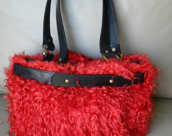 On SALE!! Red Leather Bag with Sheep Wool