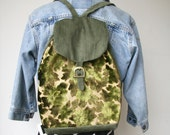 Rusty Cuts Olive Floral Tapestry Backpack