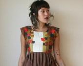 LAST ONE Rusty Cuts Geometric Print Red and Brown Mini Dress Sz S