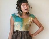 Mid Century Teal and Brown Lace Mini Dress Sz XS S M L Rusty Cuts