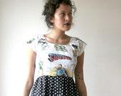 Rusty Cuts Superhero Comic Book Polka Dot Mini Dress Sz M