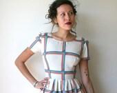 Geometric Rainbow Striped Mini Dress Sz XS Rusty Cuts