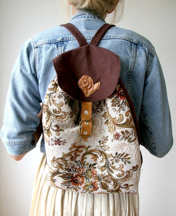 Rusty Cuts Brown Floral Tapestry Hand Tooled Backpack