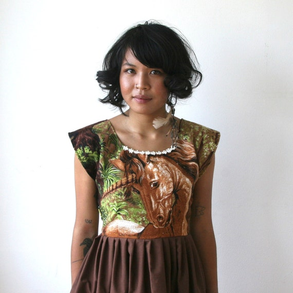 LAST ONE Unicorn Woodland Tapestry Dress / Horse Dress Sz XS S M L