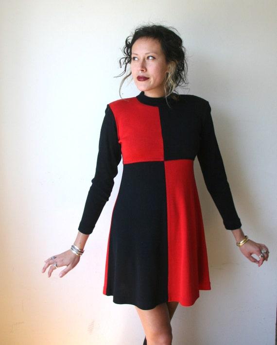 80s Color Block Sweater Dress Sz S / M