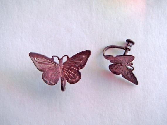 Vintage sterling silver butterfly screwback earrings