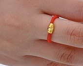 Chinese Good Luck Red String Ring with Pure Gold