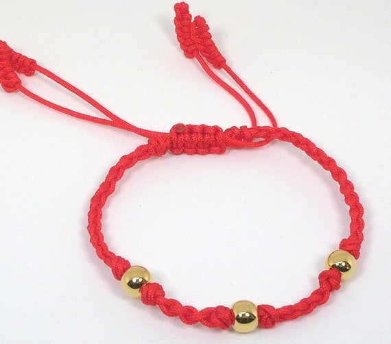 Chinese Good Luck Red String Bracelet with Gold Beads