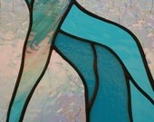 "Still Hiding: Original Stained Glass Panel in Shades of Turquoise, Clear Iridized Crackle, 18 5/8"" x 9 5/8"""