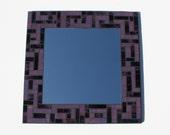 "Plum Purple Stained Glass Mosaic Mirror, 18"" x 18"""