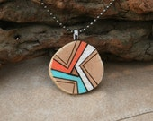 Unique Wood Jewelry - Pendant and Matching Earrings - Summer Colors - Orange Aqua White - Woodburned Design - Wearable Art - Abstract Art