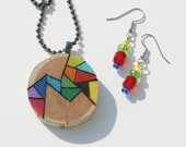 Cedar Wood slice Necklace with Woodburned Original Abstract Design and Matching Glass Beaded Earrings